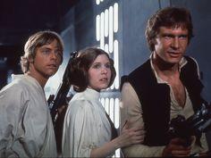 Luke, Leia y Han Solo en el Episodio IV.