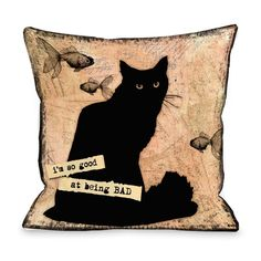 So Good At Being Bad Cat Throw Pillow #Furbabies #Animals #Kitten #Cat #Pet #pillow #bed #decorative #Accent #home #furnishing #decor
