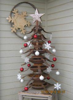 xmas tree - from old christmas tree stands Recycled Christmas Tree, Old Christmas, Outdoor Christmas, Country Christmas, Xmas Tree, Christmas Tree Decorations, Vintage Christmas, Christmas Holidays, Christmas Wreaths
