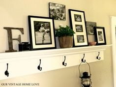 love this idea, display shelf with hooks