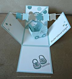 Explosionsbox Baby Junge, Stampin up, Kinderwagen, www.meinekreativwerkstatt.bastelblogs.de