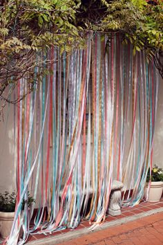Ribbon wall for unsightly space cover up! Party Decoration, Diy Wedding Decorations, Ribbon Wall, Ribbon Curtain, Ribbon Backdrop, Diy Photo Booth Backdrop, Photobooth Diy, Event Planning, Wedding Planning
