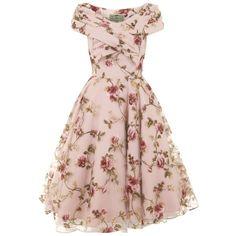 Dorothy Tulle Floral Swing Dress (580 BRL) ❤ liked on Polyvore featuring dresses, vestidos, short dress, gowns, short dresses, floral print dress, floral mini dress, swing dress and tent dresses