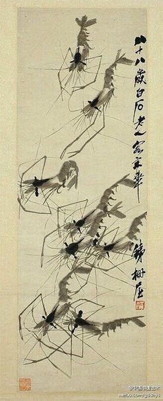 【齐白石《虾戏图》】纵99cm,横34cm。湖南省博物馆藏。作于1948年。此图共绘八只虾,神态、游姿各异,畅游舒展,活泼自在、动态生息,满盈于纸。白石老人下笔痛快利落,运转自如,了无粘滞,笔墨饱满,墨彩淋漓,天真自然之流露。