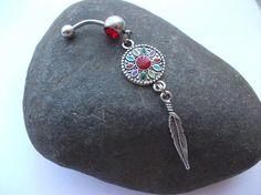 Navajo Feather Belly Ring 14 Gauge by EleganceAndGrace on Etsy, $13.00