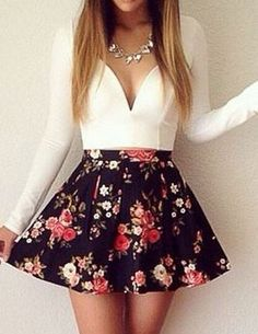 Super Cute! Love this Dress! Sexy Plunging Neck Long Sleeve Floral Print Women's Dress #Sexy #Floral #Plunging #Neckline #Spring #Fashion
