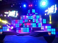 Stage design; Large internally lit Rubix cubes: