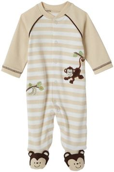 Little Me Layette Footie, Monkey Stripe, Ivory, Newborn - A soft monkey footie featuring monkey detail on feet. A striped body is decorated with a monkey swinging from tree to tree. 100 % cotton. Machine washable. Product Features  Baby boy monkey st