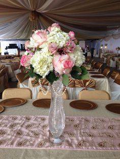 Beautiful flowers at a vintage romance wedding  party! See more party planning ideas at CatchMyParty.com!