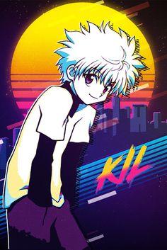 Killua Zoldyck - Hunter X Hunter Retro Metal Poster . Killua, Alluka Hxh, Zoldyck, Hisoka, Hunter X Hunter, Hunter Anime, Manga Anime, Fanarts Anime, Anime Guys
