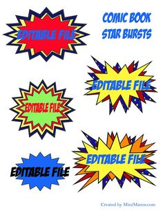 EDITABLE Super hero Comic Book Photo Booth Props Instant Download Action Bubbles Superhero 4 inches wide Printable by Mis2Manos, $6.00 USD