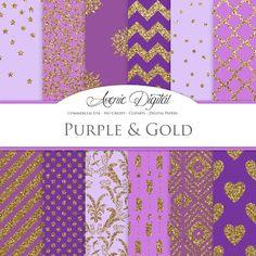 Purple and Gold Digital Paper. Scrapbook Backgrounds Lavender patterns for Commercial Use. Gold Glitter digital paper.Printable Download. AvenieDigital 1.50 GBP