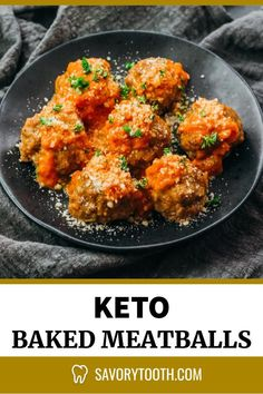 Keto Meatballs With Creamy Marinara Sauce - Savory Tooth High Protein Vegetarian Recipes, Easy Healthy Recipes, Low Carb Recipes, Ground Beef Meatballs, Keto Meatballs, Marinara Recipe, Marinara Sauce, Creamy Tomato Sauce, Gluten Free Menu