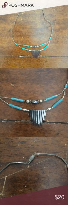 Turquoise tribal necklace Beautiful turquoise and silver statement necklace Jewelry Necklaces