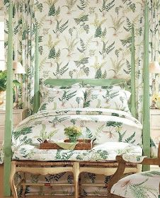 Ferns wallpaper and complementary fabric from Thibaut makes for a bright, wonderful look. Fern Wallpaper, Fabric Wallpaper, Print Wallpaper, Matching Wallpaper And Curtains, Kips Bay Showhouse, Curtain Designs, Ferns, Interior Design, Furniture