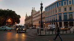 Havana streets as darkness falls.