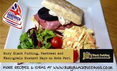 Bury Black Pudding with pastrami and wholegrain mustard mayo on an Irish Soda Farl. Farls Recipe, Black Pudding, Good Enough To Eat, Pudding Recipes, Bury, Soda, Mustard, Irish, Sandwiches