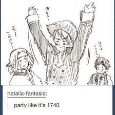 Prussia, Spain and France, Hetalia Hetalia Funny, Hetalia Manga, Bad Touch Trio, Animes On, Spamano, Bad Friends, Hetalia Axis Powers, Another Anime, Partying Hard