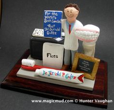 Custom made Dentist Gift any orthodontist, periodontist, endodontist, prosthodontist or general dentist is made to order- as well as any other occupation! www.magicmud.com 1 800 231 9814  $200-250 #dentist#endodontist#dental#dentistry#orthodontist#periodontist#prosthodontist#OralSurgeon#graduation#office-gift #anniversary #birthday #cake toppers#figurine#gift