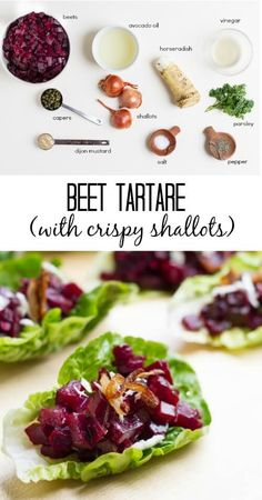 Beet Tartare Lettuce Cups with Crispy Shallots - Savory Lotus Sweet roasted beets combined with capers, fresh, horseradish, and crispy shallots.