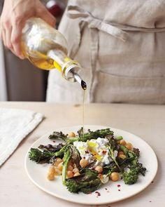 Crispy Broccoli Rabe, Chickpea and Fresh Ricotta Salad