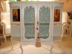 White paint + vintage wallpaper = easy elegance.  Painted Furniture.