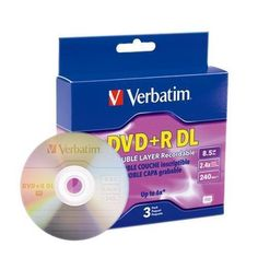 Verbatim 2.4X DVD+R Media Double Layer DL 8.5GB 3 Pack in Jewel Case (95014) by Verbatim. $9.99. DVD+Recorable DVD+R DL from Verbatim -- Introducing DVD+R Double Layer by Verbatim, the industry leader for reliable media. Also called double layer or two layer DVD recordable, plus type DVD+R discs. Two AZO recording layers on a single-sided disc. Dual Layer DVD+R Features 8.5 GB of storage capacity on a single-sided disc. No need to flip the disc Largest compatible DVD b...