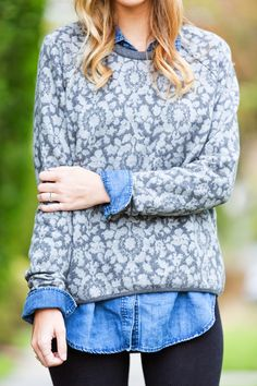 Grey Jacquard Sweater & Denim Button Up - Layers for colder weather