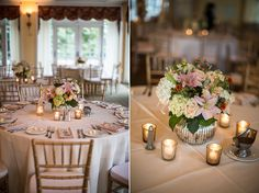 Gorgeous table centerpieces! The flowers are absolutely breathtaking. Love the votives, very vintage and elegant! Meggie & Kevin's Hayfields Country Club wedding by Charlotte Jarrett Events