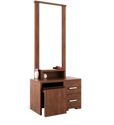 Buy Kosmo Arena Dressing Table with Stool in Rigato Walnut Finish by Spacewood Online - Modern Dressing Tables - Tables - Furniture - Pepperfry Product Dressing Table Storage, Furniture Dressing Table, Bedroom Dressing Table, Dressing Table Design, Dressing Table With Stool, Dressing Mirror, Dressing Tables, Wardrobe Door Designs, Wardrobe Design Bedroom