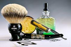 "Al's Bay and Vetiver shave cream, Kent badger brush, Dorko 5/8"" straight razor, Creed vetiver cologne"
