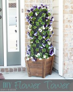 DIY Flower Tower - really fun front porch statement piece!  This flower tower is fun to create and can be done in just a couple hours!!