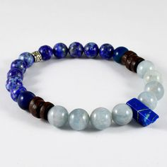 MEN'S AQUAMARINE VARISCITE BLUE AGATE LAPIS NATURAL GEMSTONE BEADED BRACELET #MBAHandmade #Beaded