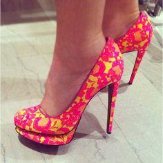 Lace Neon Heels