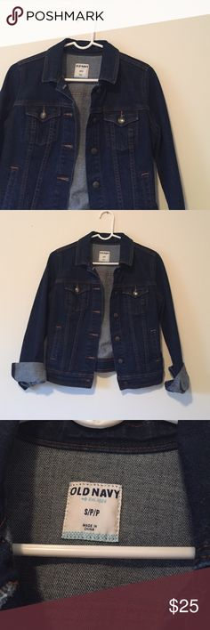 NWOT Classic Denim Jacket Never worn and in perfect condition. Deep wash classic cut denim jacket. Sleeves are rolled up in the picture, but they can be rolled down. * NO TRADES * Old Navy Jackets & Coats Jean Jackets