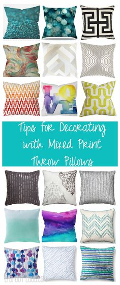 Throw pillows styled with mixed patterns and colors. So pretty!