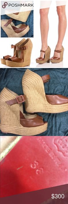 AUTHENTIC CHRISTIAN LOUBOUTIN PRAIA 140 WEDGES AUTHENTIC CHRISTIAN LOUBOUTIN PRAIA 140 CAMEL ROPE WEDGE - EURO SZ 38, US SZ 8 - THEY ARE IN GOOD CONDITION ASIDE FROM THE RED ON THE BOTTOM WHICH CAN BE RESOLED FOR NEW LIFE - NO TRADES Christian Louboutin Shoes Wedges
