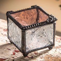 Vintage Pale Rose Glass Jewelry Box | J. Devlin Glass Home Decorations