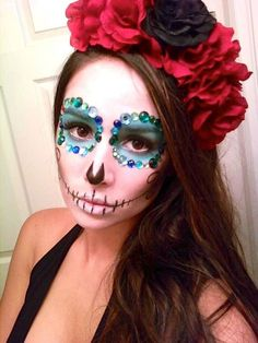 love the gemstone/bling applique idea areound the eyes...maxican day of the dead makeup