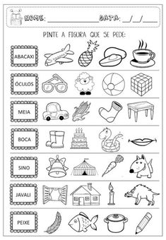 +50 Atividades de alfabetização prontas [para imprimir] Portuguese Lessons, Learn Portuguese, Preschool Printables, Math Worksheets, Gisele, First Grade, Professor, Kindergarten, Homeschool