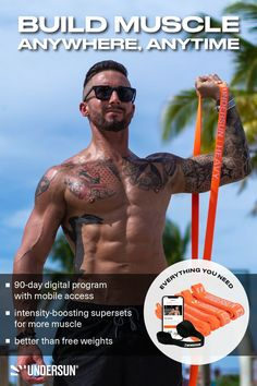 The Undersun Muscle Building Bundle provides EVERYTHING you need to get muscular and lean. What's even better is that you can train anywhere and still get the same results you would at the gym! Follow the link to learn more about the program and why resistance bands are BETTER than free weights. Strength Program, Strength Workout, Muscle Building Program, Free Weights, Resistance Band Exercises, Muscle Groups, On Set, Build Muscle, Workout Programs