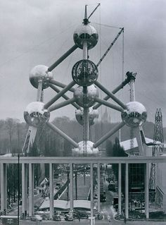 Vint. 1958 Brussels World Fair ATOMIUM Exhibition Nuclear Show Piece Press Photo
