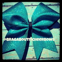 teal hologram cheer bow by BragAboutItCheerBows on Etsy, $10.00