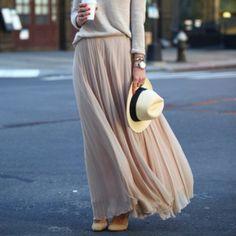 long skirt shirt beige plissé skirt nude skirt beige