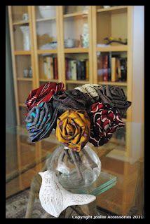 Tutorial DIY roses upcycled from old silk ties - Joallie Petit