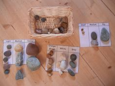 My Montessori Preschool: Math sorting activity by using rocks and different sorting concepts. Children can sort by size, color, and texture. Montessori Preschool, Preschool Classroom, Classroom Setup, Forest School, Montessori Materials, Numeracy, Play To Learn, Early Childhood Education, Preschool Activities