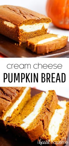 This pumpkin cream cheese bread is a delicious dessert to make this fall! It has the perfect amount of pumpkin spice flavor with an amazing cream cheese filling. #pumpkin #pumpkinrecipes #pumpkinbread #pumpkindesserts #creamcheese #creamcheesefilling #pumpkincreamcheesebread #cheesecake #pumpkincheesecakebread #fall #fallrecipes #fallbaking #recipes #iheartnaptime