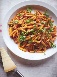 Pregnant Jools's Pasta; Chicory Watercress Salad; Frangipane Tarts: Jamie's 30 minute meals