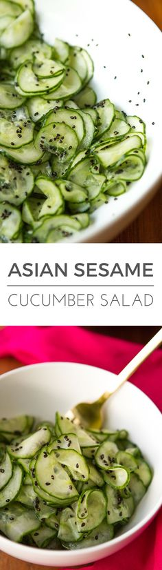 Asian Cucumber Salad -- this simple cucumber salad is super light and refreshing, perfect for hot summer days… Rice vinegar and dark sesame oil, along with toasted sesame seeds give it a delicious Asian flair! | via /unsophisticook/ on http://unsophisticook.com