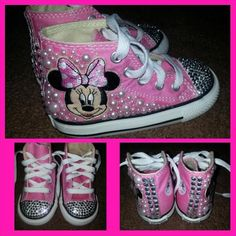 Minnie Mouse Bling Converse by AshbashDesigns on Etsy https://www.etsy.com/listing/210314736/minnie-mouse-bling-converse